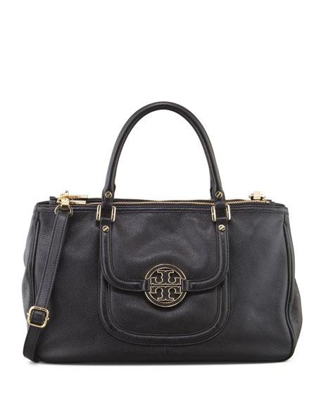Amanda Double-Zip Tote Bag, Black