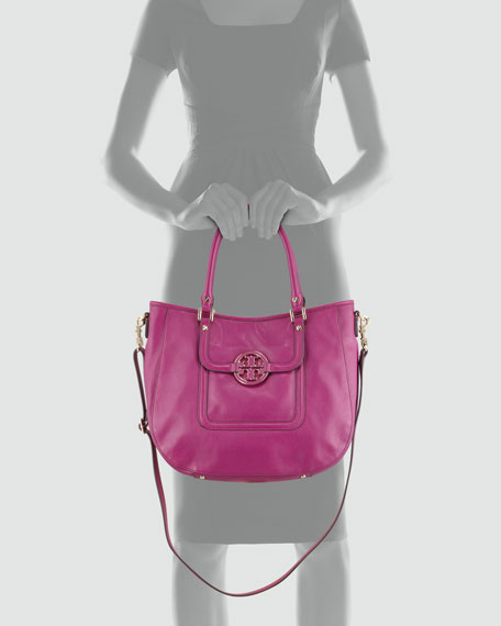 Amanda Double-Handle Hobo Bag, Fuchsia