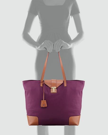 Penn Nylon Flap-Lock Tote Bag, Plum