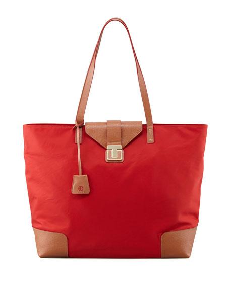 Penn Nylon Flap-Lock Tote Bag, Red