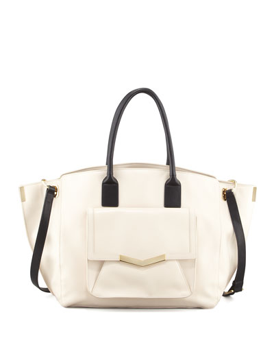 Time's Arrow Jo Leather Tote Bag with Pocket, Bone