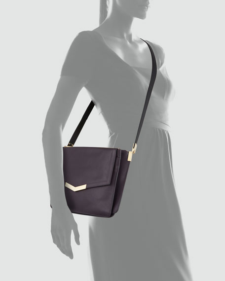 Trilogy Leather Crossbody Bag, Purple