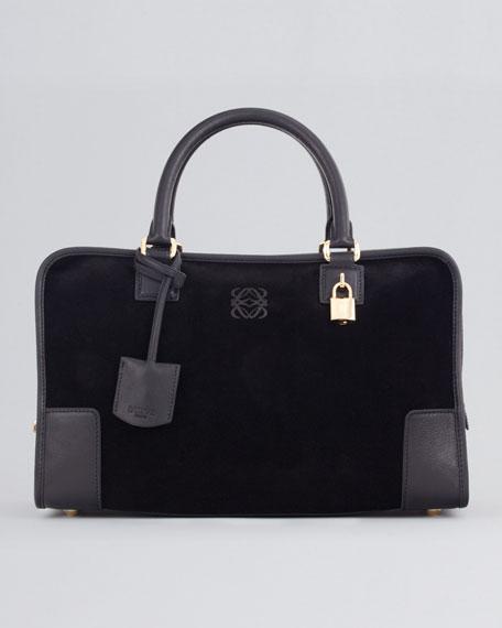 Amazona Suede & Leather Bag, Black