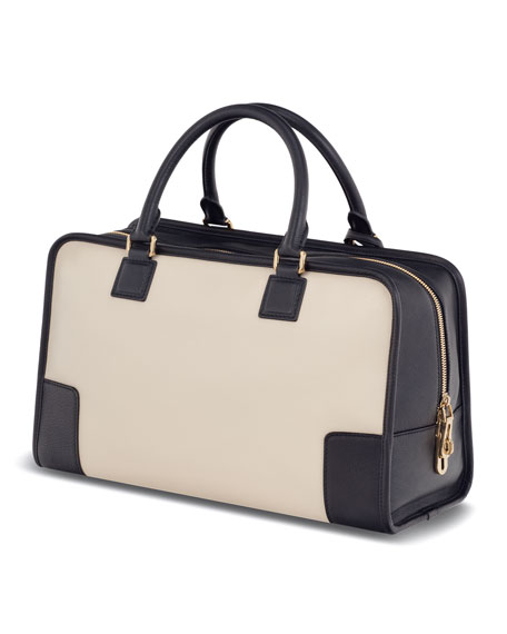Amazona Leather Bag, Stone/Black