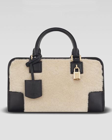Amazona 28 Calf Hair Bag, Stone/Black