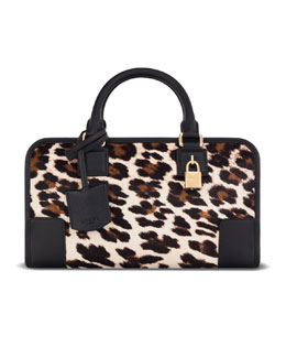 Loewe Amazona 23 Calf Hair Bag, Stone/Black