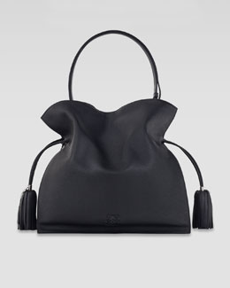 Loewe Flamenco 30 Drawstring Leather Bag, Black