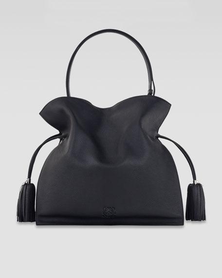 Flamenco 30 Drawstring Leather Bag, Black