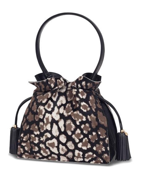 Flamenco 30 Drawstring Calf Hair Bag, Black/Stone