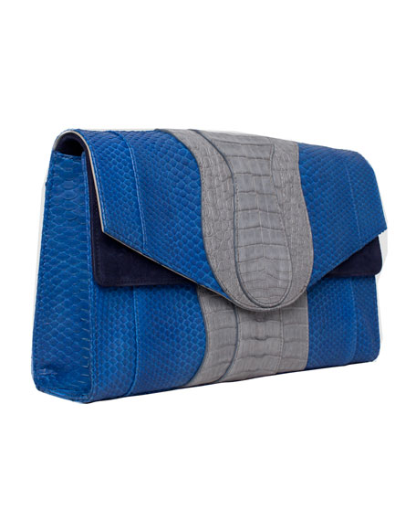 Herzog Oversized Python & Crocodile Clutch Bag, Blue/Navy
