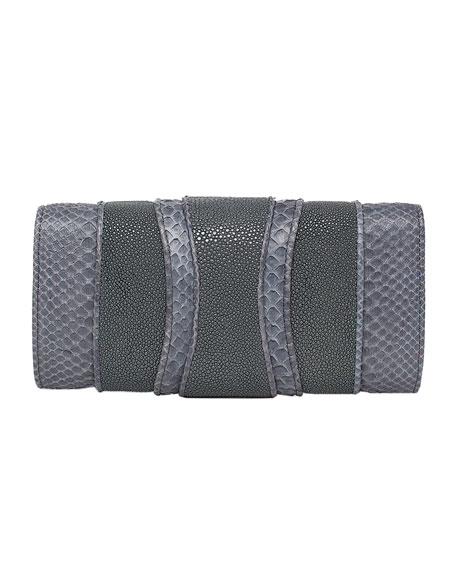 Lindsay Python & Stingray Clutch Bag, Gray