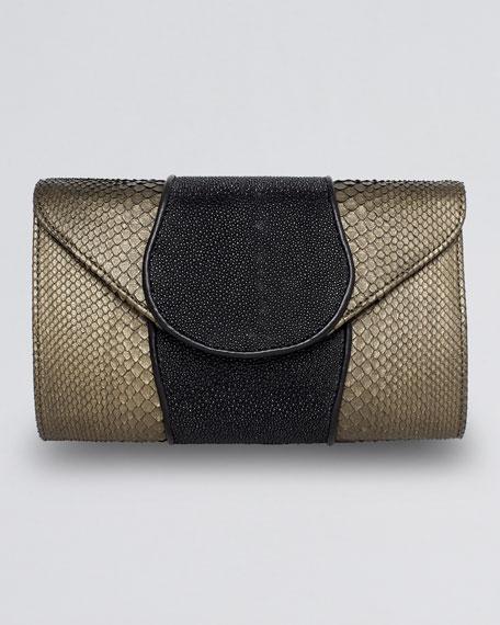 Babo Metallic Python & Stingray Clutch Bag, Copper/Black
