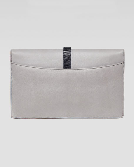 Maxim Python & Lizard Fold-Over Clutch Bag, Gray/Natural