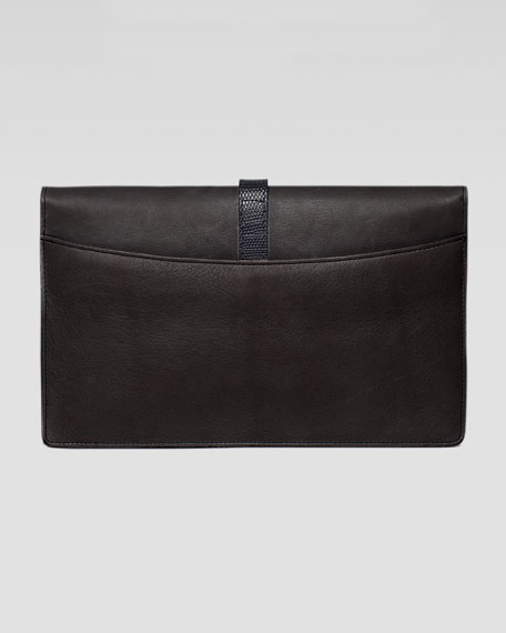 Maxim Python & Lizard Fold-Over Clutch Bag, Black/Copper