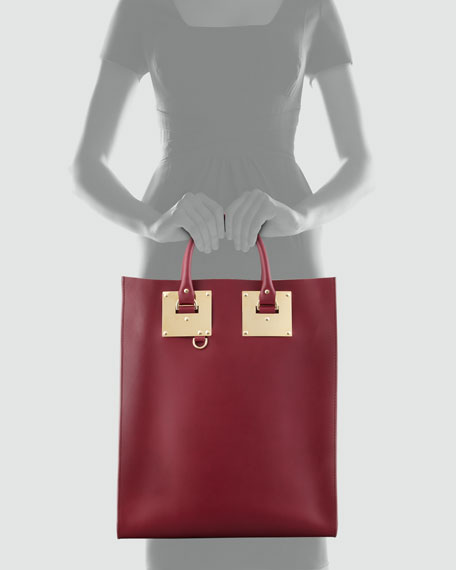 Sophie Hulme Signature Leather Tote Bag, Burgundy