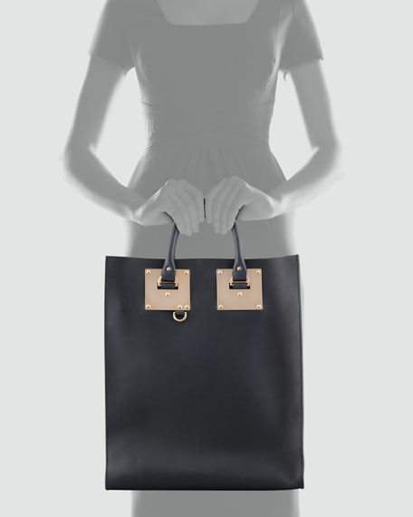 Signature Leather Tote Bag, Black