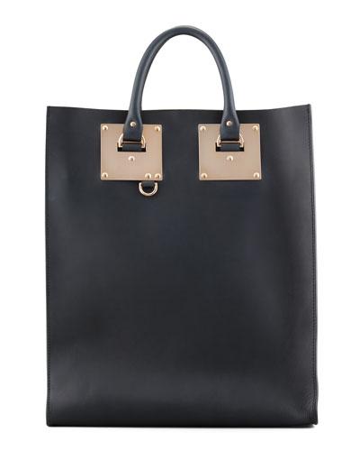 Sophie Hulme Signature Leather Tote Bag, Black