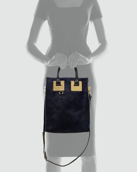 Mini Calf Hair Tote Bag, Navy