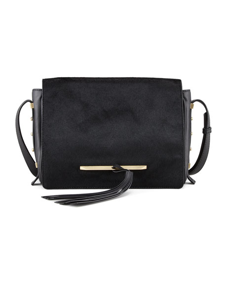 Brigitte Calf Hair Crossbody Messenger Bag, Black