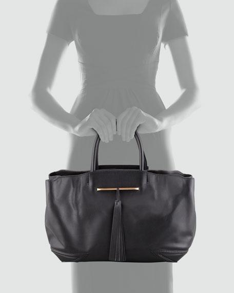 Grace East/West Leather Tote Bag, Black
