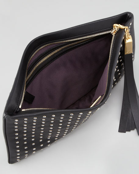 Lana Medium Studded Tassel Clutch Bag, Black