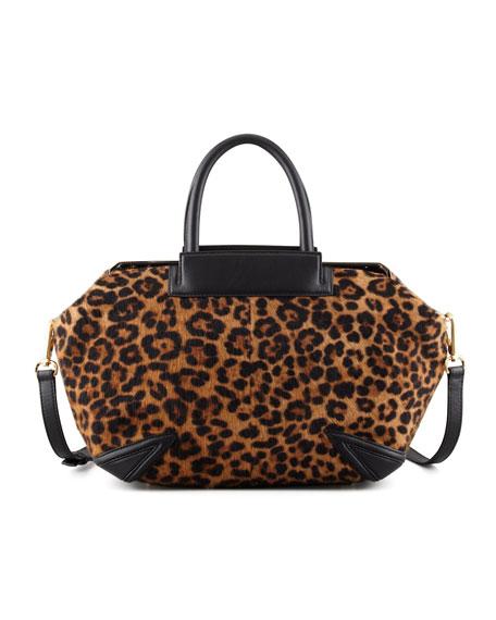 Sophia Leopard-Print Calf Hair Satchel Bag