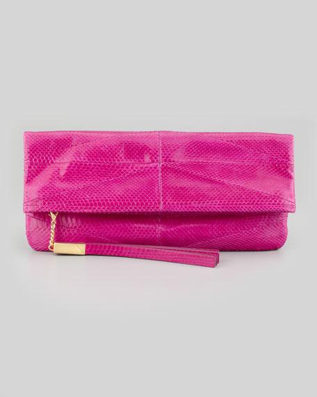Robin Soft Snake Fold-Over Clutch Bag, Magenta