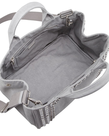 Studded Denim Tote Bag, Blue-Gray