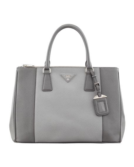 Saffiano Luxe Bicolor Tote Bag, Gray Multi (Marmo+Nube)