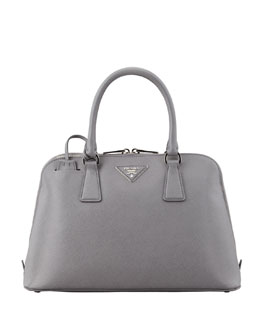 Prada Saffiano Lux Two-Way Zip Satchel Bag, Gray (Marmo)