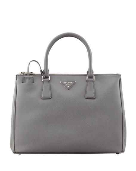 Prada Saffiano Double-Zip Executive Tote, Gray (Marmo)