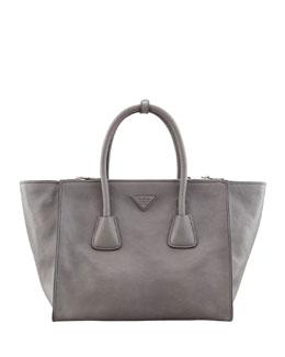 Prada Glace Calf Large Twin Pocket Tote Bag, Gray (Marmo)