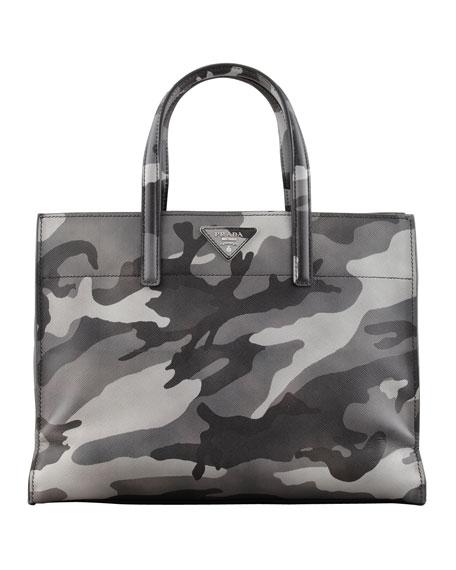 Camo-Print Soft Saffiano Tote Bag, Gray