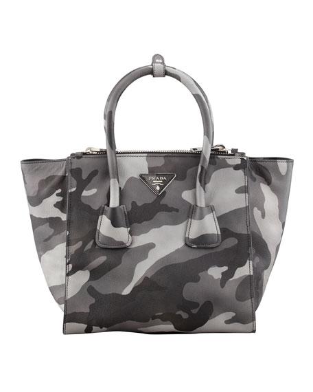 Camo Soft Saffiano Twin Pocket Tote Bag