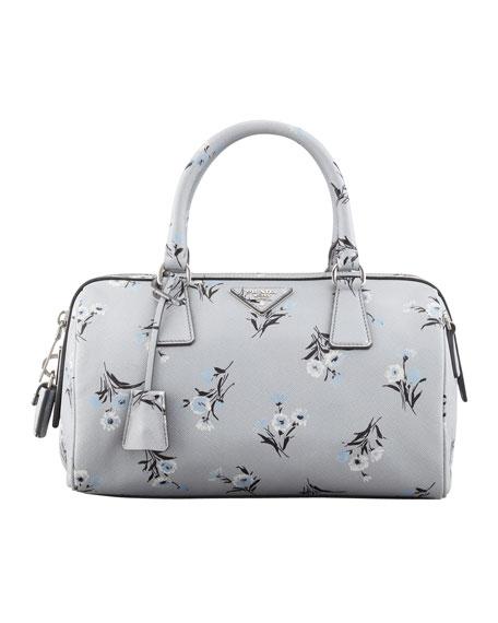 Floral-Print Soft Saffiano Satchel Bag, Gray