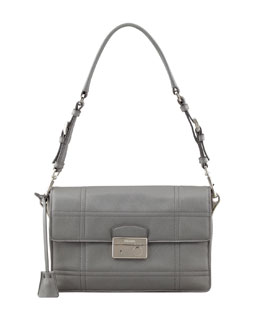 Prada Saffiano Soft Shoulder Bag, Gray