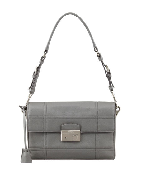 Saffiano Soft Shoulder Bag, Gray (Marmo)
