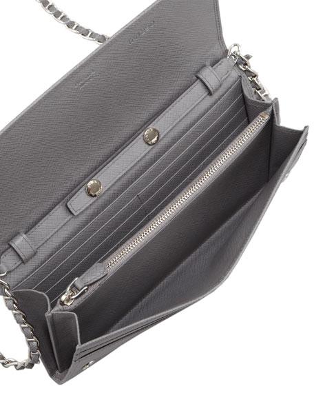 837a8924c4a9f2 Prada Saffiano Wallet on a Chain, Gray (Marmo)