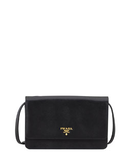 Prada Saffiano Wallet Crossbody, Black