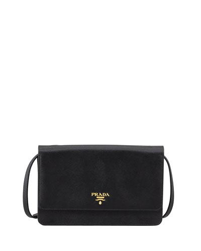 Prada Saffiano Wallet Crossbody, Black (Nero)