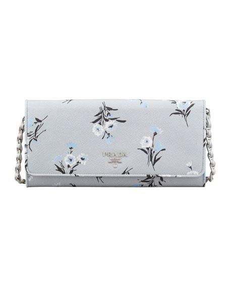 prada saffiano wallet on a chain gray