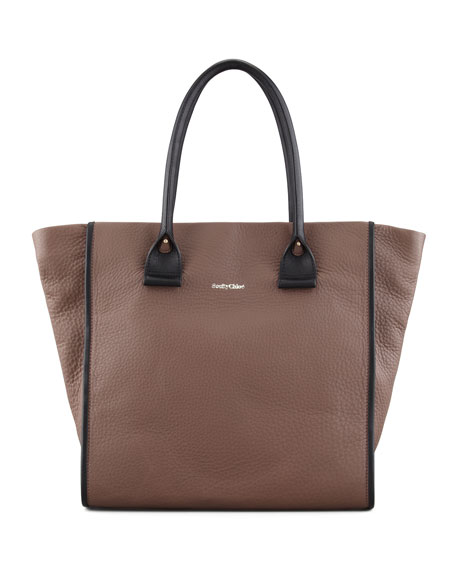 April Calfskin Zipped Tote Bag, Large