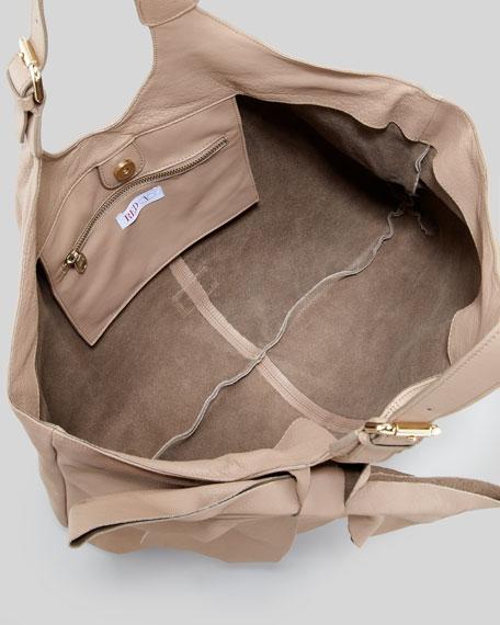 Classic Bow Hobo Bag, Taupe