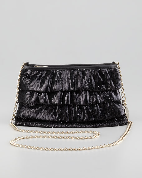 Sequined Ruffled Clutch Bag, Black