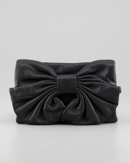Bow-Front Calfskin Shoulder Bag, Rose