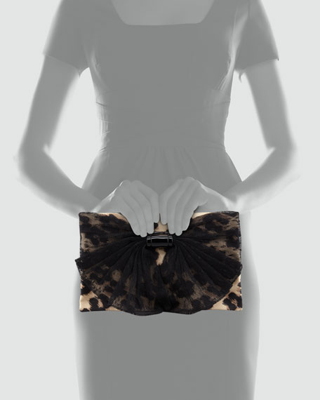 Printed Fabric Clutch Bag with Flap, Leopard
