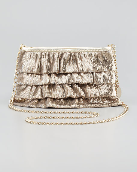 Sequined Ruffled Clutch Bag, Gold