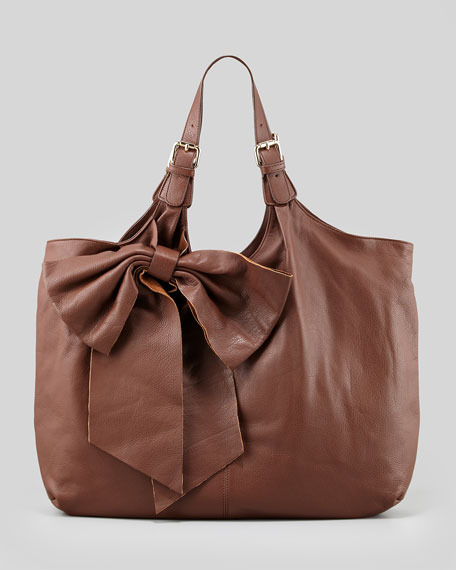 Large Leather Bow Tote Bag, Brown