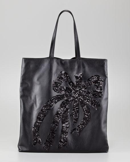 Sequin-Bow Napa Leather Tote, Black