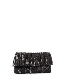 RED Valentino Pleated Sequined Clutch Bag, Black